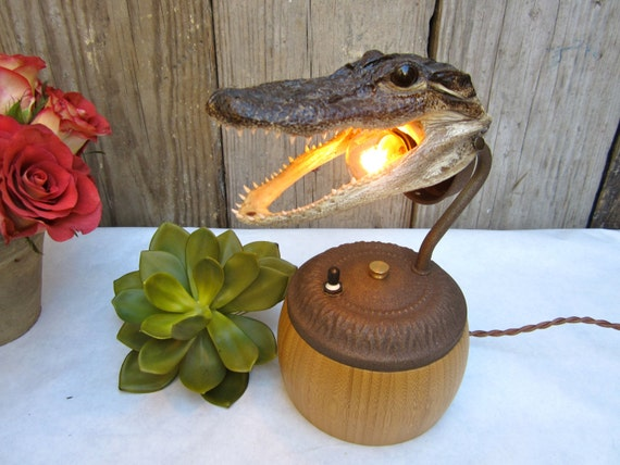 Novelty Lamp Bases : Taxidermy Alligator Lamp Novelty Light by CityandSeaVintage