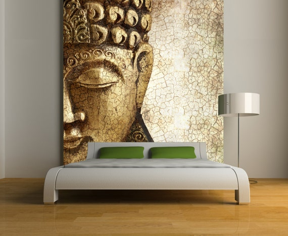 Items similar to buddha wall mural repositionable peel for Buddha mural wallpaper