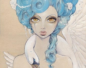 "Poster ""Odette"" (Illustration, Art, Lowbrow, Comic, Victorian, Print, Pop surrealism,Baroque,Swan lake )"
