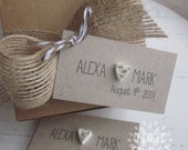 quilled heart personalized printed favor tags // rectangle tag // Kraft // rustic // shabby chic // wedding // birthday // shower // event