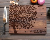 Personalized Cutting Board Wood Cutting Board with Birds on Love Tree Heart Custom Wedding Gift Anniversary Gift Custom Engraved - FancyWoods