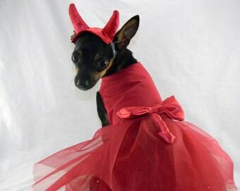 Little devil dog costume dress with horn headband XXS-M