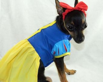 Snow white princess dog costume with headband XXS-M