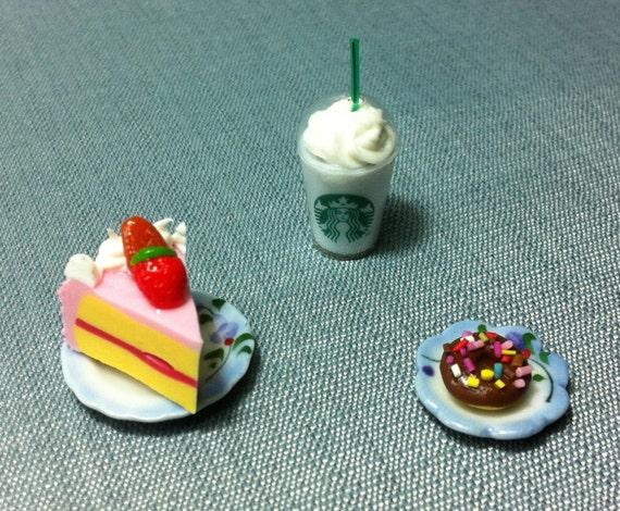 Dessert Set Miniature Clay Polymer Fruit Strawberry Cake Slice