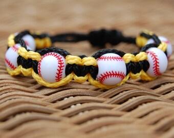Black and Yellow Gold Baseball Bracelet /  Trendy Baseball Mom / Baseball Team / Gift Exchange / Goody Bag / Sports Jewelry / Sports