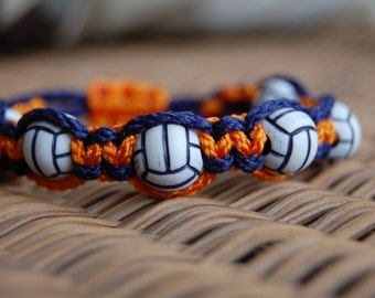 Orange and Navy Blue Volleyball bracelet / More Colors and Sports Themes available