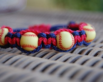 Navy Blue and Red Softball Bracelet  - More cord colors and sports theme options available