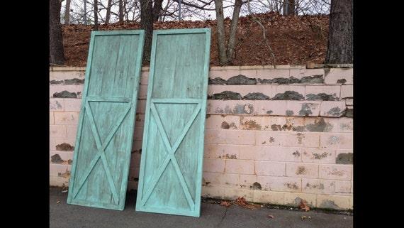Barn Door Wood Interior Door Blue Teal Antique By Themtwobirds