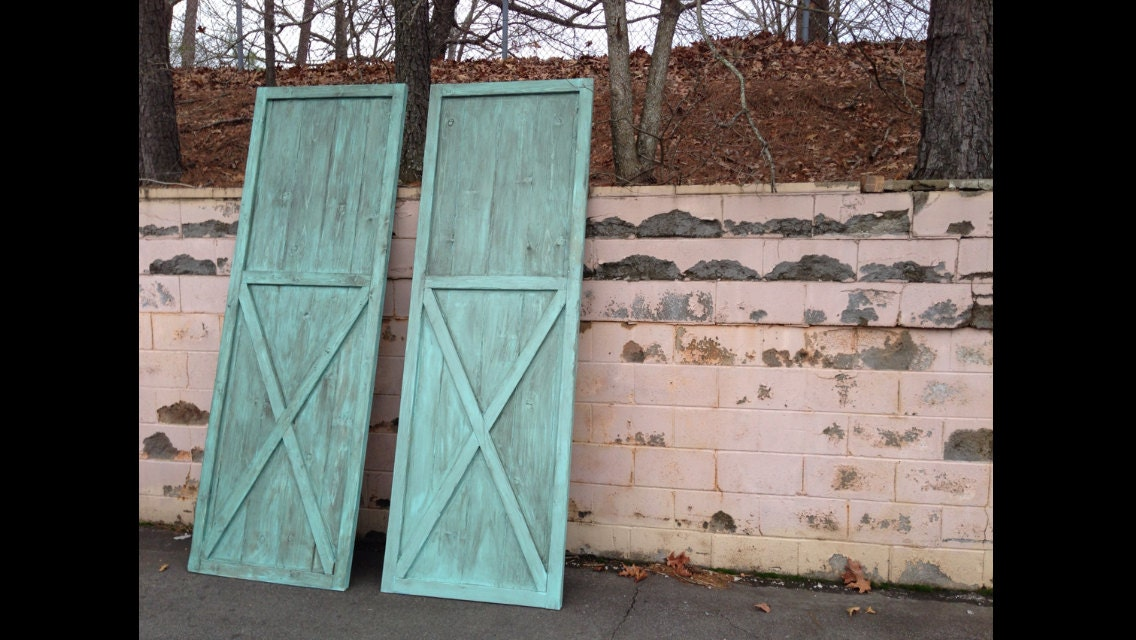 Barn Door Wood Interior Door Blue Teal Antiqued By Themtwobirds