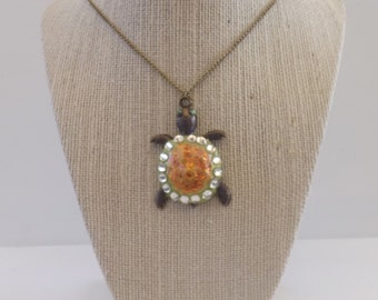 Hand Painted Turtle Necklace on Bronze Chain