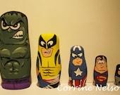 Wooden Superhero Nesting Doll Set of 5