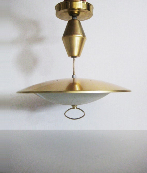 Mid Century Retractable Brass Light Fixture