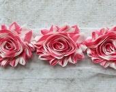 SALE!!!  1 Yard Pink Stripe Shabby Chiffon Flower Trim - Flower Trim for Headbands and DIY supplies