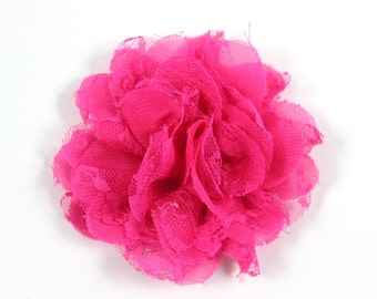 3.75 inch Chiffon Lace Flower in Hot Pink - Flower Head for Headbands and DIY Hair Accessories