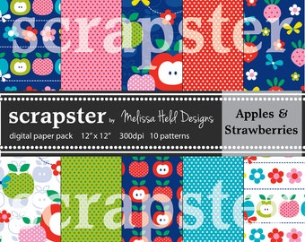 Apples and Strawberries Digital Patterns