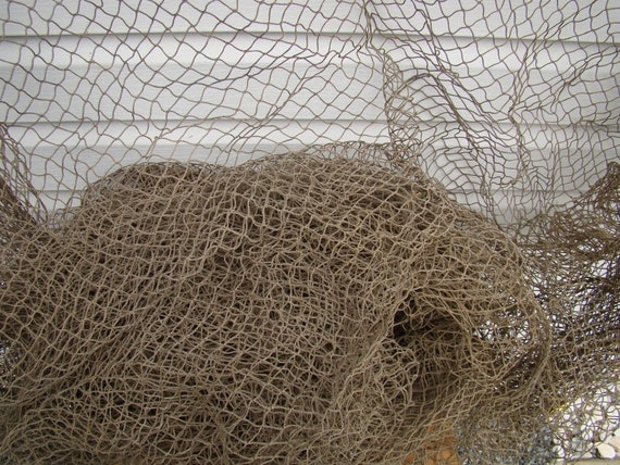 Old used fishing net 15 ft x 15 ft knotless vintage fish for Fish netting decor