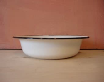 Old Enamel Bowl, Soviet Vintage 1950s, Old Enamel Kitchenware, White Black