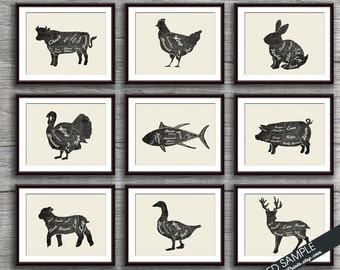 Butcher Diagram Series Collection - Set of 9 - Art Prints (Featured in Vintage Chalkboard with Cream) Customizable Kitchen Prints