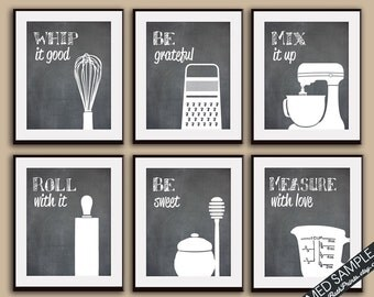 Funny Kitchen Art Print Set (Whisk, Grater, Mixer, Rolling Pin, Honey, Measuring Cup) Set of 6 - Art Prints (Featured on Blackboard)