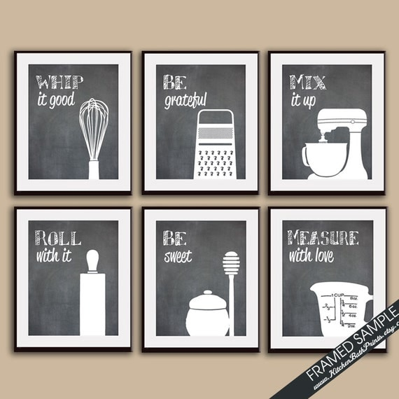 Funny kitchen art print set whisk grater mixer rolling for Funny kitchen set