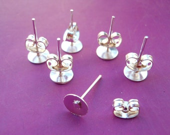 100 pcs Surgical Steel Stud Earnuts and 6mm Flat Pads, Silver Earring Posts with Back Stoppers