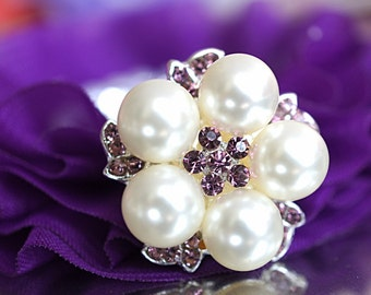 2 - 5 or 10 - Lavender Crystal Rhinestone & Pearls 25mm metal buttons FLAT BACK - Rhinestone Embellishments