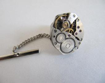 Steampunk, Mens Gift, Steampunk Tie Clip, Tie Tack, Watch Parts, Steampunk Jewelry, Groomsmen Gift, Mens Gift, Watch Movement, TT1