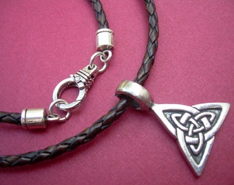 Leather Necklace, Celtic Triangle,  Mens Necklace, Mens Jewelry, Mens Gift, Celtic  Pendant, Leather Jewelry, Necklace, Celtic Jewelry