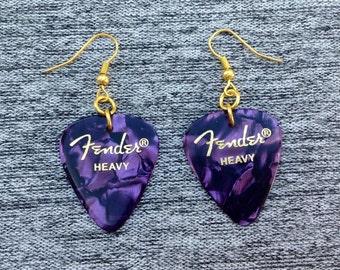 Fender Purple Guitar Pick Earrings