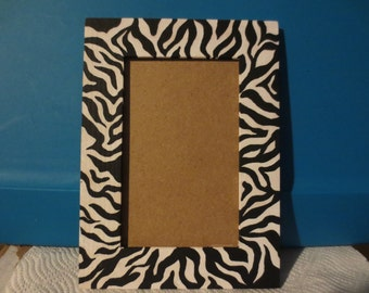 hand painted zebra print wooden picture frame decor
