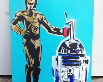 C3PO and R2D2 Keg painting