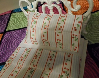 Whimsical Sheet Set adorned with Cherries and Pale Blue Stripes for 18 inch American Girl Doll Bed
