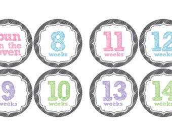 Pregnancy Belly Stickers - its a girl - its a boy - Weekly Pregnancy Stickers, Bun in the Oven - Baby Bump Stickers, weeks 8-40, grey