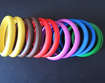 6Pairs colorful Wood Bracelet Natural Wood Bangle 66mm(width 12-13mm) -- ( W377)