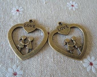 6pcs Antique Bronze love couple ( A088)