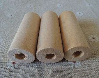 10Pcs 50X19mm unfinished wood cylinder no varnish big hole  (W397)