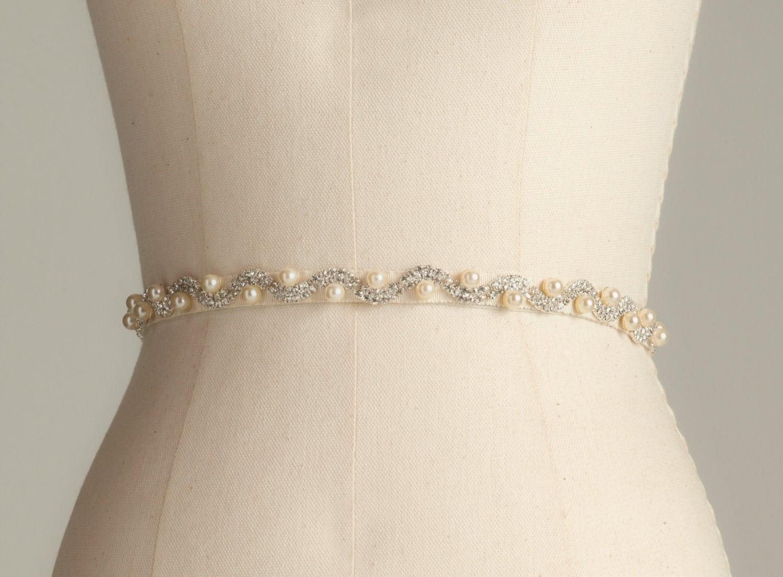 Rhinestone and pearl bridal belt wedding sash by dellagiovanna for Pearl belt for wedding dress