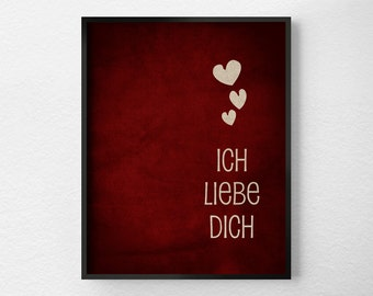 Ich Liebe Dich, I Love You German, Typography Poster, Valentines Day Decor, Anniversary Gift, Red and White, Inspirational Print, 0108