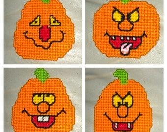 Set of 4 Halloween Jack-O-Lantern Refrigerator Magnets
