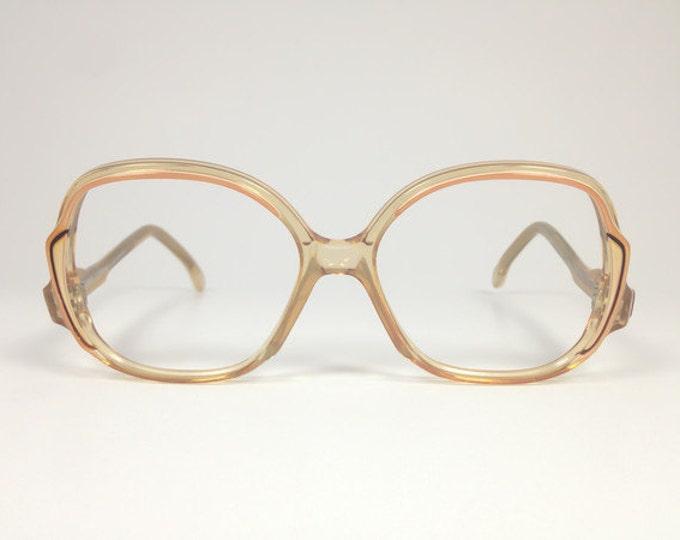 Vintage 70s Eyeglass Frame | Pierre Cardin Round Oversized Glasses | NOS 1970s Colorblock Eyeglasses | Vintage Deadstock Eyewear  - Sharine