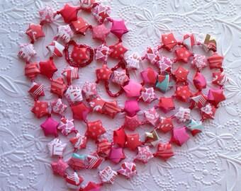 Valentine Origami Star Garland with Pink Beads