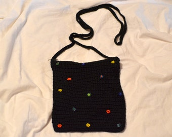 Vintage Black gothic/goth cloth shoulder bag/purse with multicolor garden flowers on it; 1970s hippie 60s style