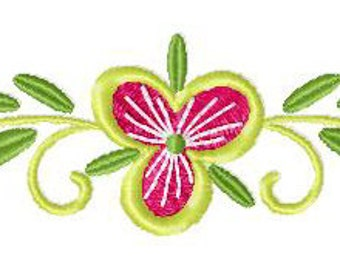INSTANT DOWNLOAD Border Bloom Flower Machine Embroidery Design