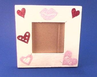"""White """"Kiss"""" Heart  5 x 5 Standing WoodenFrame"""