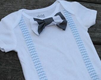 Suspender Onesie, Baby Boy Bowtie, Onesie Bow Ties, Gray Chevron Snap or Clip Bow Ties, Toddler Boy Bowties