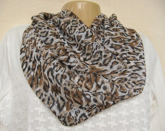 Leopard Print Scarf - Long Infinity Chiffon Scarf - Spring Scarf - Mother's Day Gift