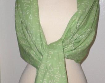 Handmade Hand-Stamped Wax Batik Scarf - All Seasons Cotton Fashion Scarf, Shawl, Pashmina, Apple Green Scarf
