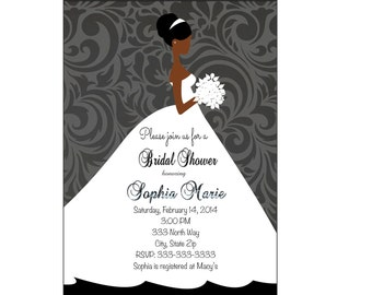Bridal Shower invitation   Wedding shower Invitation, Wedding Shower Black and White Wedding Dress Printable