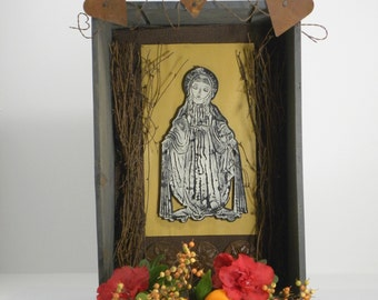 Rustic Madonna   Assemblage Art Shrine