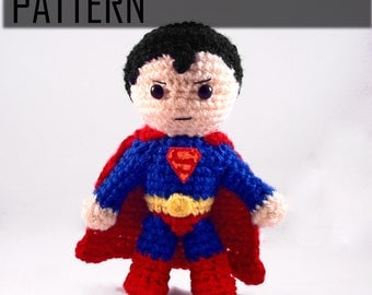 PDF CROCHET PATTERN Chibi Superman Inspired amigurumi
